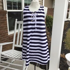 Almost Famous navy and white nautical dress